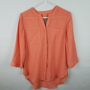 Chicos Button Down Shirt 3/4 Sleeve High Low #280
